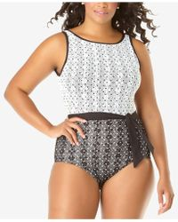 Anne Cole - Plus Size In First Lace Dot-print One-piece Swimsuit - Lyst