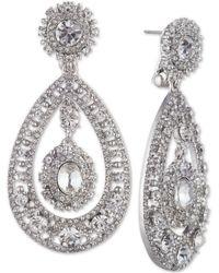 Marchesa Crystal Filigree Chandelier Earrings - Metallic