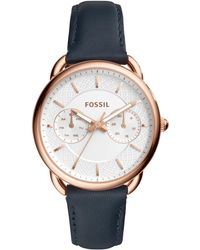 Fossil | Women's Tailor Navy Leather Strap Watch 35mm | Lyst