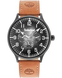 Timberland - Men's Blanchard Tawny Brown Leather Strap Watch 45mm - Lyst