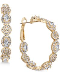 Joan Boyce - Gold-tone Crystal Scalloped Hoop Earrings - Lyst