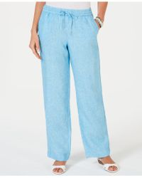 Charter Club Linen Drawstring-waist Pants, Created For Macy's - Blue