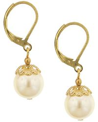 2028 - Gold-tone Simulated Pearl Drop Earrings - Lyst