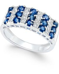 Macy's - Sapphire (1-1/2 Ct. T.w.) And Diamond (1/5 Ct. T.w.) Statement Ring In 14k White Gold - Lyst