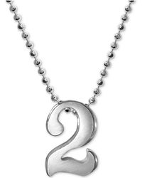 Alex Woo - Number 2 Pendant Necklace In Sterling Silver - Lyst