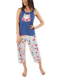 Munki Munki Flower Kitty Capri Pajama Set - Blue