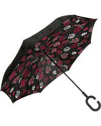 Shedrain Unbelievabrella Reversible Dual-print Umbrella - Black