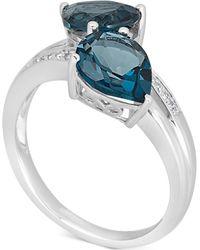 Macy's - London Blue Topaz (4 Ct. T.w.) & Diamond Accent Ring In 14k White Gold - Lyst