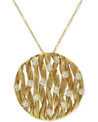 Effy Collection - Diamond Textured Circle Pendant (3/4 Ct. T.w.) In 14k Gold - Lyst