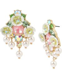 Betsey Johnson Mixed Flower & Stone Cluster Button Earrings - Yellow