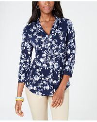 Charter Club - Floral V-neck Top, Created For Macy's - Lyst