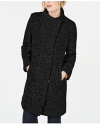 Kenneth Cole Asymmetrical Bouclé Walker Coat - Black