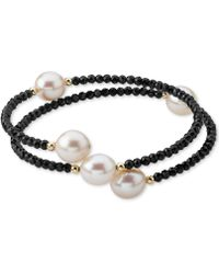 Macy's - Cultured Freshwater Pearl (10mm) & Lapis Lazuli (3mm) Wrap Bracelet In 14k Gold (also Black Spinel) - Lyst