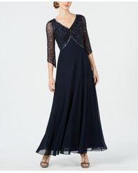 J Kara Embellished 3/4-sleeve Gown - Blue