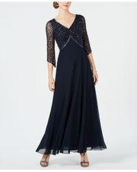J Kara Empire-waist Sequined Gown - Blue