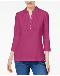 Karen Scott - Petite Cotton Collared Top, Created For Macy's - Lyst