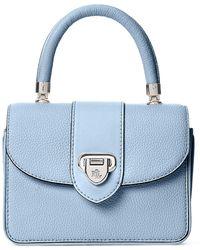 Lauren by Ralph Lauren Dawson Pebble Leather Small Satchel - Blue
