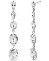 Catherine Malandrino Tiered Round White Rhinestone Link Silver-tone Dangle Earrings - Metallic