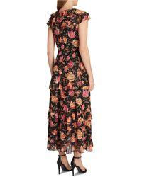 Tahari Floral-print Cascading Ruffled Maxi Dress - Black