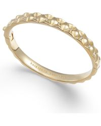 Kate Spade - Gold-tone Pavé Quilted Hinged Bangle Bracelet - Lyst