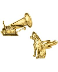 2028 1928 Jewelry 14k Gold Plated Dog And Phonograph Cufflinks - Metallic