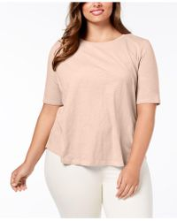 Eileen Fisher - Plus Size Organic Cotton Crew-neck Top - Lyst