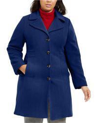 Anne Klein Plus Size Single-breasted Wool Coat, Created For Macy's - Blue