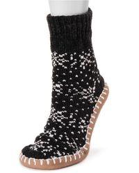 Muk Luks Chenille Short Slipper Socks - Black