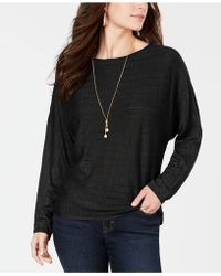Style & Co. Boat-neck Dolman-sleeve Sweater, Created For Macy's - Black