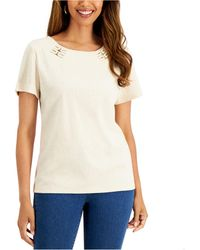 Karen Scott Petite Cotton Embellished Knit Top, Created For Macy's - Natural