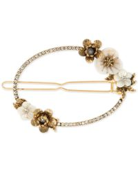 Lonna & Lilly Gold-tone Crystal & Imitation Pearl Flower Hair Barrette, Created For Macy's - White