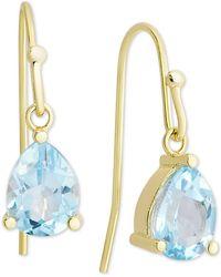 Macy's - Blue Topaz Drop Earrings (2 Ct. T.w.) In 18k Gold-plated Sterling Silver - Lyst