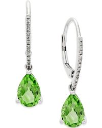 Macy's - Peridot (2-1/2 Ct. T.w.) And Diamond Accent Drop Earrings In 14k White Gold - Lyst