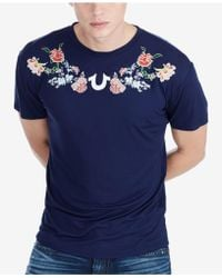 True Religion - Floral-embroidered T-shirt - Lyst