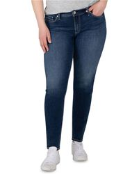 Silver Jeans Co. Plus Size Elyse Mid-rise Skinny Jeans, Regular & Long Lengths - Blue