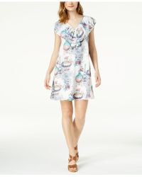 Maison Jules - Printed Flounce Dress, Created For Macy's - Lyst