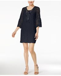 Kensie Three-quarter-sleeve Lace Dress - Blue