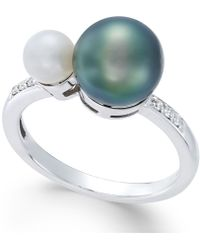 Macy's - Cultured Freshwater Pearl (8mm And 5mm) And Diamond Accent Ring In 14k White Gold - Lyst
