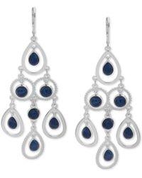 Nine West - Silver-tone Stone Chandelier Earrings - Lyst