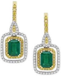 Effy Collection Emerald (1-9/10 Ct. T.w.) & Diamond (5/8 Ct T.w.) Drop Earrings In 14k Gold & White Gold - Green