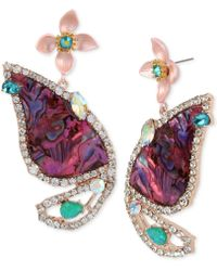 Betsey Johnson - Rose Gold-tone Stone & Crystal Butterfly Wing Drop Earrings - Lyst