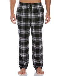 Perry Ellis Portfolio Relaxed-fit Large Plaid Flannel Pajama Pants - Black
