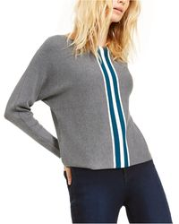 INC International Concepts Inc Petite Varsity Stripe Jumper, Created For Macy's - Gray