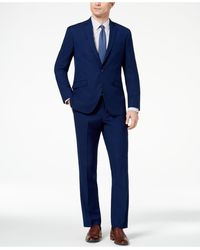 Kenneth Cole Reaction Big And Tall Ready Flex Slim-fit Stretch Modern Blue Solid Suit