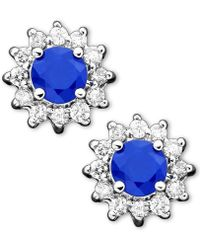 Effy Collection - Sapphire (5/8 Ct. T.w.) And Diamond (1/4 Ct. T.w.) Stud In 14k White Gold - Lyst