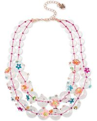 """Betsey Johnson Rose Gold-tone Crystal Flower Beaded Double-strand Necklace, 17"""" + 3"""" Extender - Pink"""