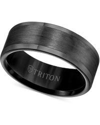 Triton Ring, 8mm Wedding Band In White Or Black Tungsten