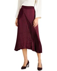 Alfani Mixed-media Pleated Skirt, Created For Macy's - Red