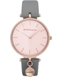 BCBGeneration 2 Hands Slim Gray Genuine Leather Band Watch 36mm