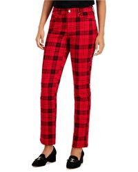 Charter Club Plaid Jeans, Created For Macy's - Red